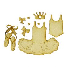 Little Tutu Set - Wood Ballet Shoes Dress Crown Leotard card book craft topper